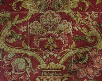 Red French Country Floral - Country Chic Fabric - Upholstery Fabric by the Yard
