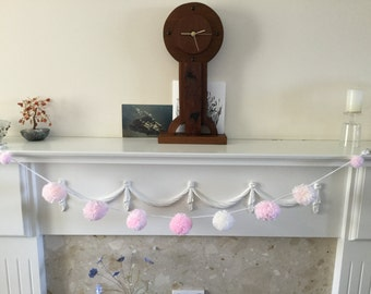 Pompom Garland in Pink, Peach and Cream