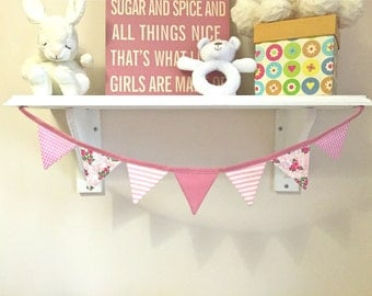 Pink Cotton Double Sided Fabric Bunting
