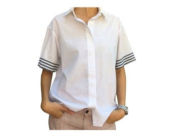 Chanel white short sleeve button down top!