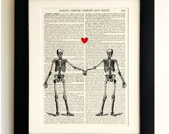 ART PRINT on old antique book page - Twin Skeletons in love, Vintage Upcycled Wall Art Print, Encyclopaedia Dictionary Page, Fab Gift!