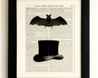 FRAMED ART PRINT on old antique book page - Top Hat and Bat, Vintage Wall Art Print Encyclopaedia Dictionary Page
