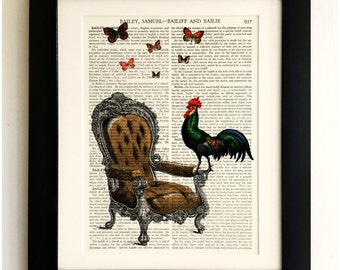 ART PRINT on old antique book page - Chicken on a Chair with Butterflies, Vintage Upcycled Wall Art Print, Encyclopaedia Dictionary Page
