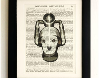 ART PRINT on old antique book page - Retro Cyberman, Doctor Who, Vintage, Upcycled Wall Art Print, Encyclopaedia Dictionary Page, Fab Gift!