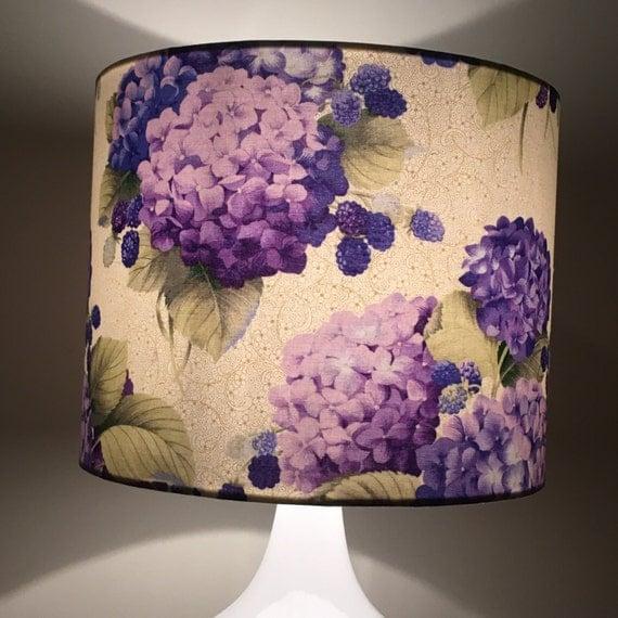 Hydrangea lamp shade floral lamp shade purple floral lamp for Purple beaded lamp shade