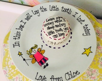 Tooth Fairy Plate and tooth box set