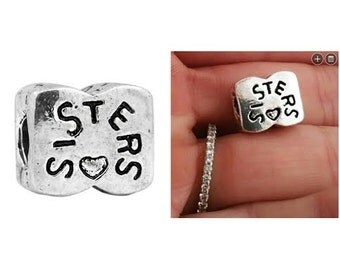 Sisters charm/Sister charm/ Big sis Lil sis bead charm- for Pandora Bracelet and all other European Bracelets