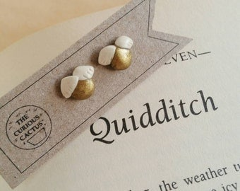 Golden Snitches (Harry Potter/Quidditch) - Polymer Clay Sterling Silver Earrings