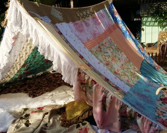 Boho tent MADE to order shabby chic gl&ing teepee HippieWild Gypsy hippie patchwork bed canopy Wedding & Gypsy canopy   Etsy