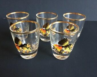Set of 5 Fish Print Gold Rim Shot Glasses