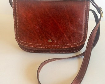 THE BRIDGE Vintage Story Donna Marrone Leather Crossbody Bag