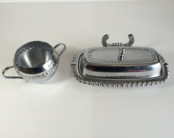 Ironworks Chrome Butter Dish with Knife Rest and Sugar Bowl Made in U.S.A.