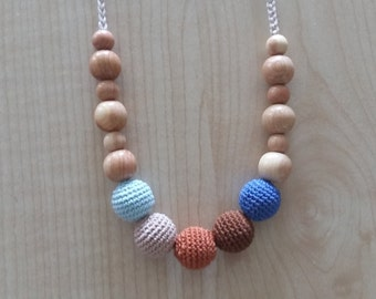 Crochet Nursing Necklace,Nursing Necklace,Teething Necklace,Breastfeeding.Wood.Juniper.Necklace for mom.