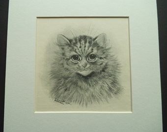 Antique LOUIS WAIN Print 1903 - Cat Portrait Print - My Name is Fuff - Cat Wall Art - Matted - Ready to Frame