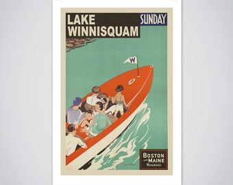 Lake Winnisquam Travel Poster Vintage New Hampshire Boating Print Home Decor Office Decor Wall Decor - 7 Print Sizes