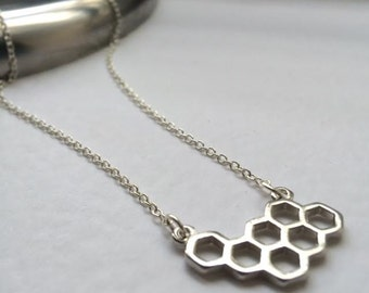 Honeycomb Necklace, Silver Honeycomb Necklace, Beehive Necklace, Silver Beehive, Layering Necklace