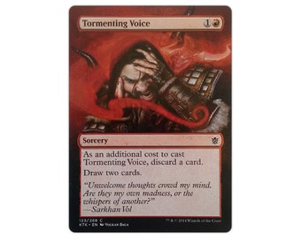 Hand Painted Altered MTG Tormenting Voice Extension