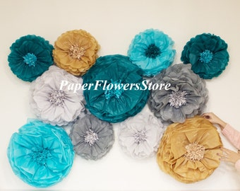 Teal Gold and Gray - Tissue Paper Flowers set of 14 (6/8) -  Huge Paper Blooms - Baby shower - Birthday decorations - Backdrop wallpaper