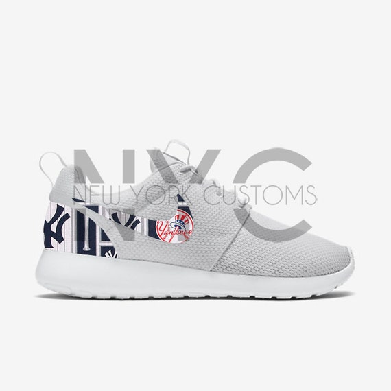 2ad217e0c7baa cheap New York Yankees Nike Roshe Run Triple White Custom by NYCustoms