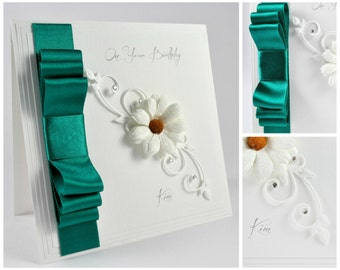 Personalised Birthday Card / Luxury Handmade / Choice of Colours / Keepsake Box Available / Custom Printing / Lined as Standard