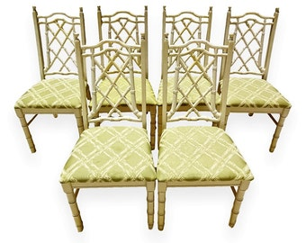 Set of 6 Vintage Chinese Chippendale Chairs Faux Bamboo Chairs Chippendale Side Chairs Faux Bamboo Dining Chairs Hollywood Regency Chairs