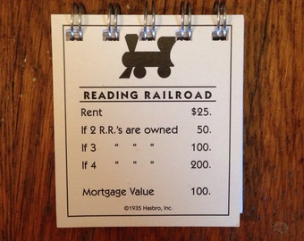 Upcycled Monopoly Reading Railroad Notepad