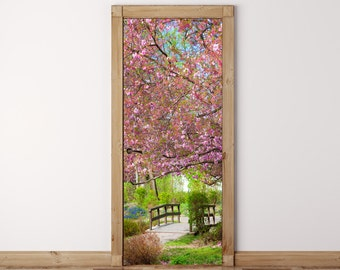Door Mural Japanese garden Sakura - Self Adhesive Fabric Door Wrap Wall Sticker