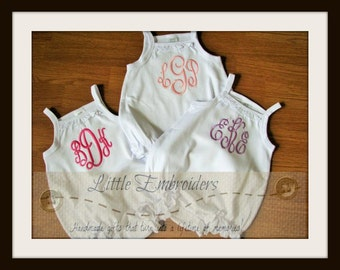 Monogramed White Girl Ruffle Baby Bubble Romper
