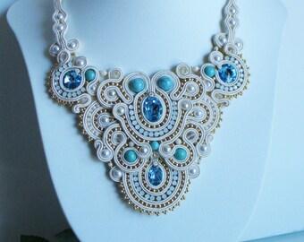 Wedding necklace. Soutache necklace-White elegant necklace