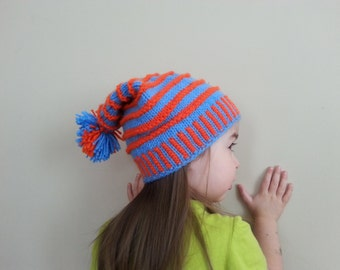 Orange and blue striped beanie child