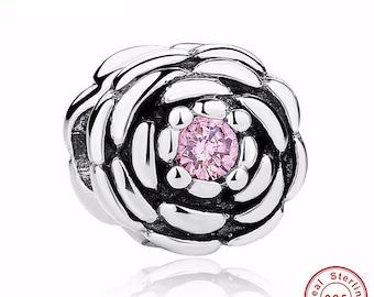 BLOOMING ROSE Charm fit Pandora Bracelet