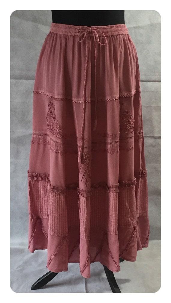 vintage 70s maxi skirt hippy festival boho salmon pink