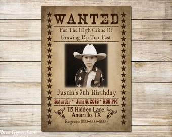 Digital Download Wanted Invitation Cowboy Invitation Western Invitation Printable 5x7