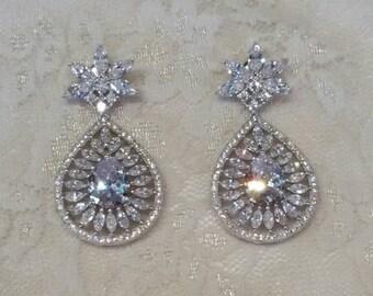 Bridal Earrings Vintage Wedding Crystal Silver Chandelier Pierced