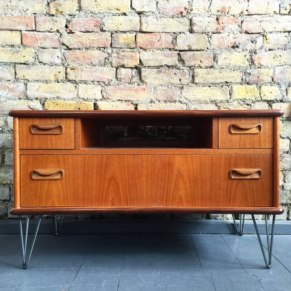 Upcycled vintage retro mid century Gplan TV cabinet industrial hairpin legs