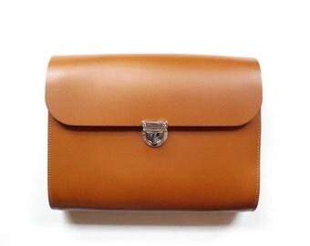 Large Tan Leather Crossbody Bag - Handmade in UK - Clutch Bag