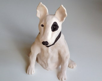 Pet Memorial, Pet Portrait, Dog Portrait, Dog Art, Gifts for Dog Lovers, Bull Terrier, Clay Sculpture, Dog Memorial, Dog Sculpture,