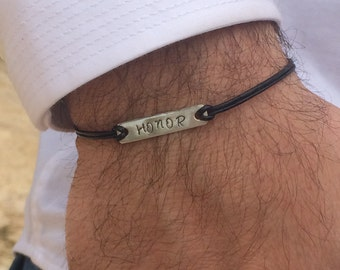 Personalized Mens Bracelet-Mens personalized-Father's Day-Honor Bracelet-Leather Engraved Bracelet-Mens minimalist-Men Bracelet-Mens gift