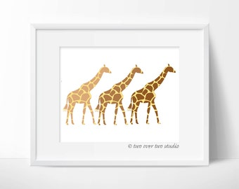Giraffes Print: Digital Printable Giraffe Art for Safari Nursery Wall Decor, Baby Shower Gift and Birthday Invitations