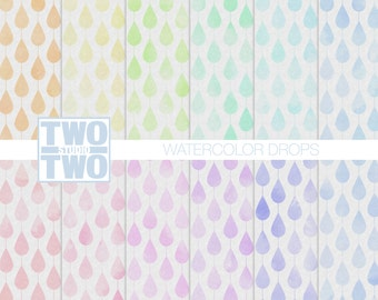 """Watercolor Digital Paper: """"WATERCOLOR DROPS"""" Raindrop Pattern in Shades of Yellow, Orange, Blue, Pink, Purple, and Green, Spring Background"""