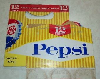 Vintage Pepsi Cola 12 oz 6 Pack Cardboard Carrier