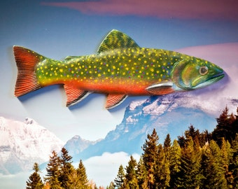 Hand-made and painted wood Brook Trout magnet