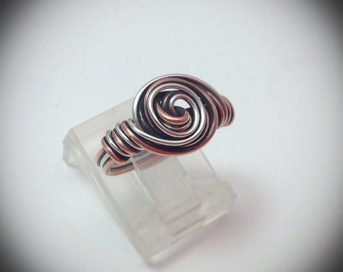 Two toned wire wrapped rosette ring back - Sterling & copper