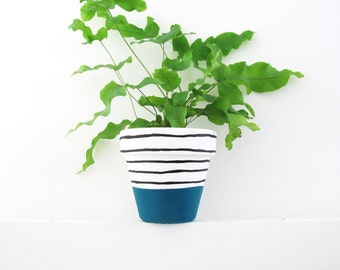 Hand Painted Plant Pot - Teal Stripe