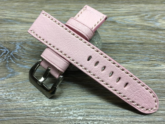 Leather watch strap in Pink colour for Panerai Watch | 24mm leather watch strap | Leather watch Band | 24mm strap for Luxury watch