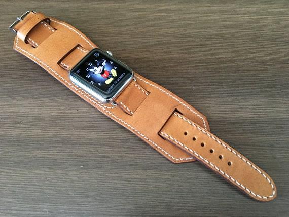 Apple Watch Band   Apple Watch Strap   Vintage Leather Cuff Watch Band   Vintage Khaki Leather Cuff Watch Strap For Apple Watch 42mm