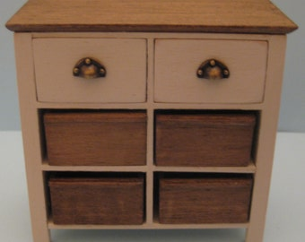 TO ORDER - 1/12th Scale 2 Drawer Storage Unit with 4 Removable Crates