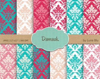 Damask Digital Paper, damask patterns in pink, turquoise and peach, damask backgrounds for scrapbooking, cardmaking