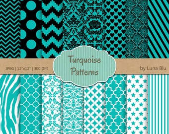 Turquoise Digital Paper: Turquoise scrapbook paper pack, turquoise and black, with chevron, damasks, quatrefoil, stripes
