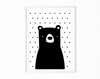 Printable wall art print poster Black Bear kids room